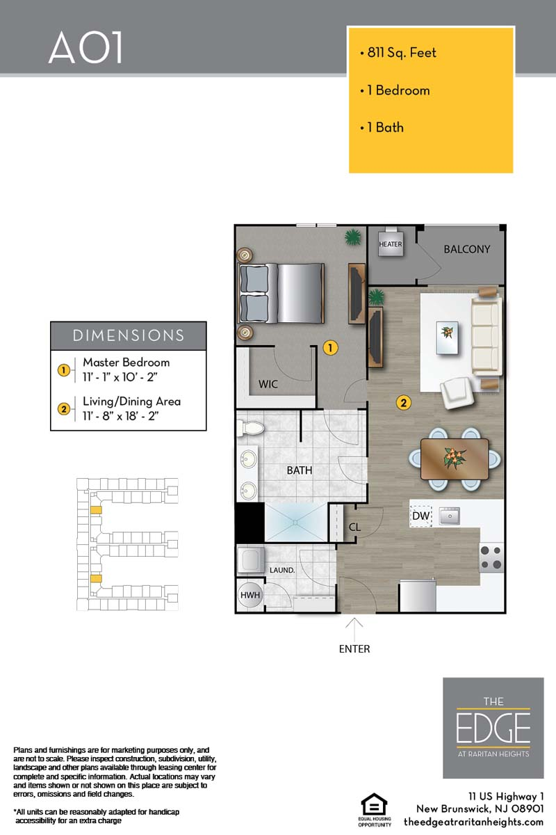 The Edge At Raritan Heights Apartment Floor Plan A01