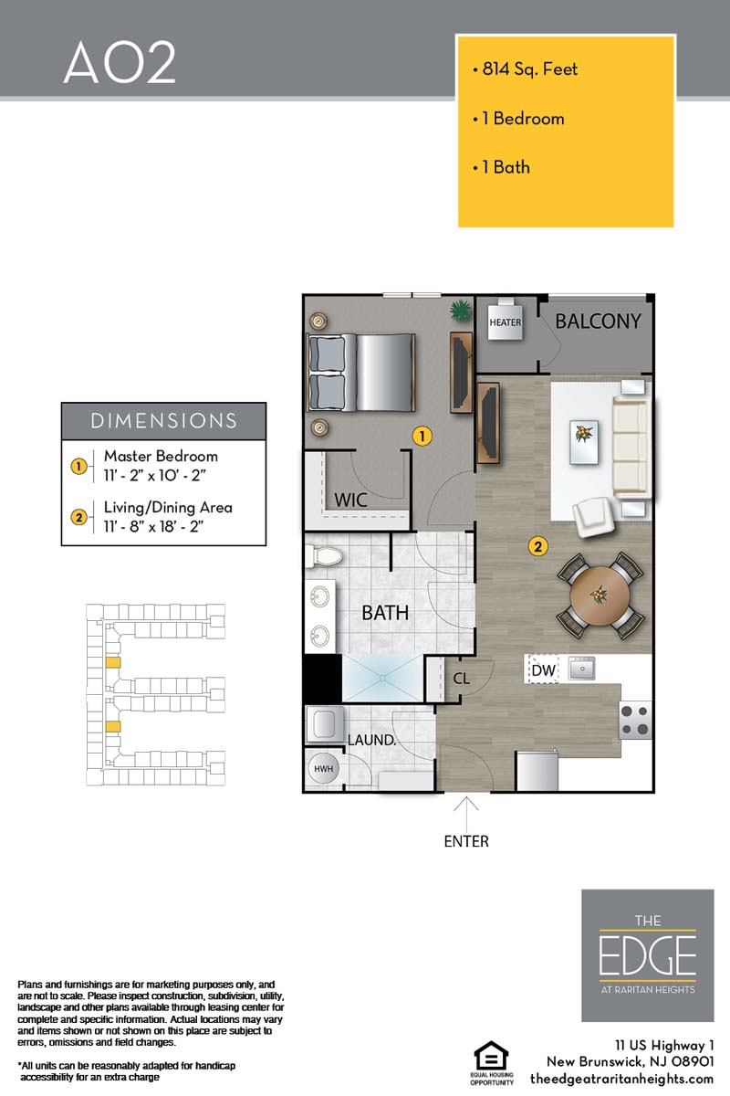 The Edge At Raritan Heights Apartment Floor Plan A02