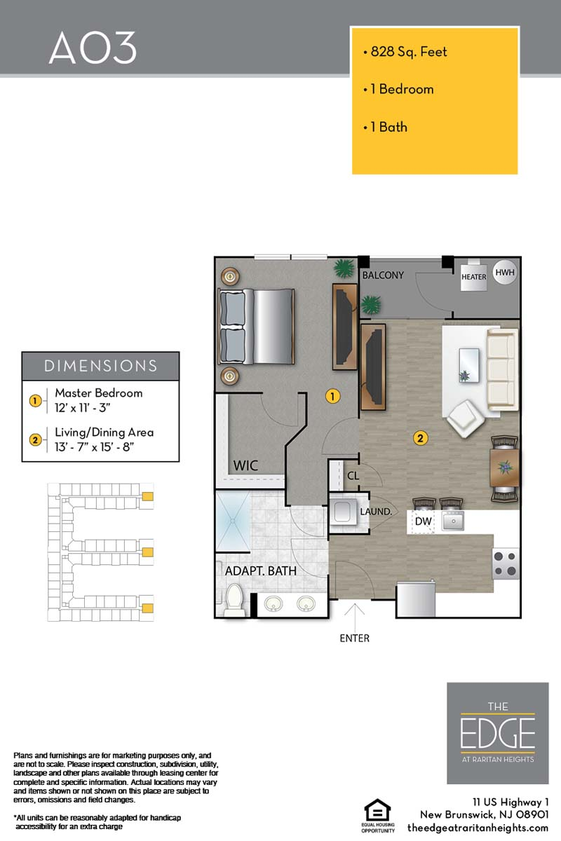 The Edge At Raritan Heights Apartment Floor Plan A03