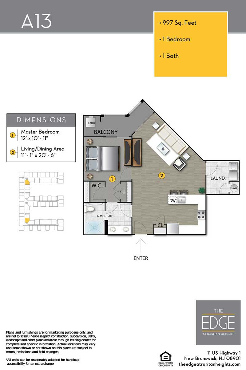 The Edge At Raritan Heights Apartment Floor Plan A13