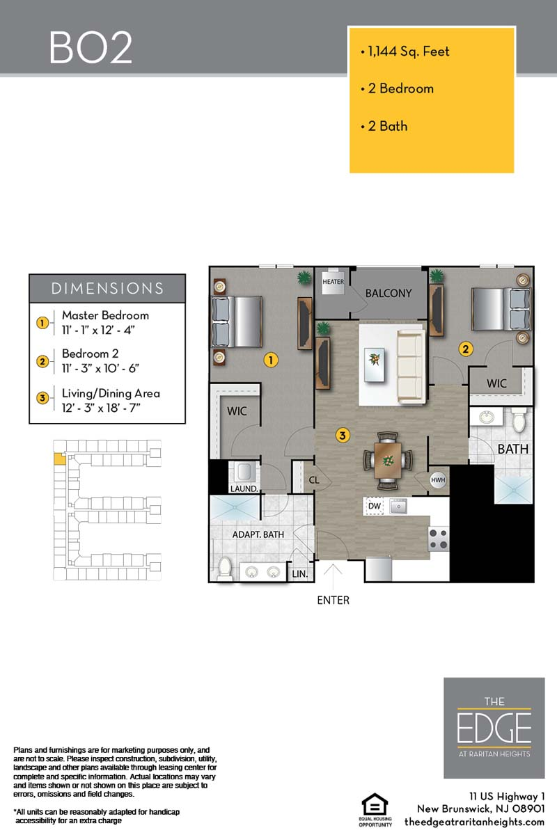 The Edge At Raritan Heights Apartment Floor Plan B02