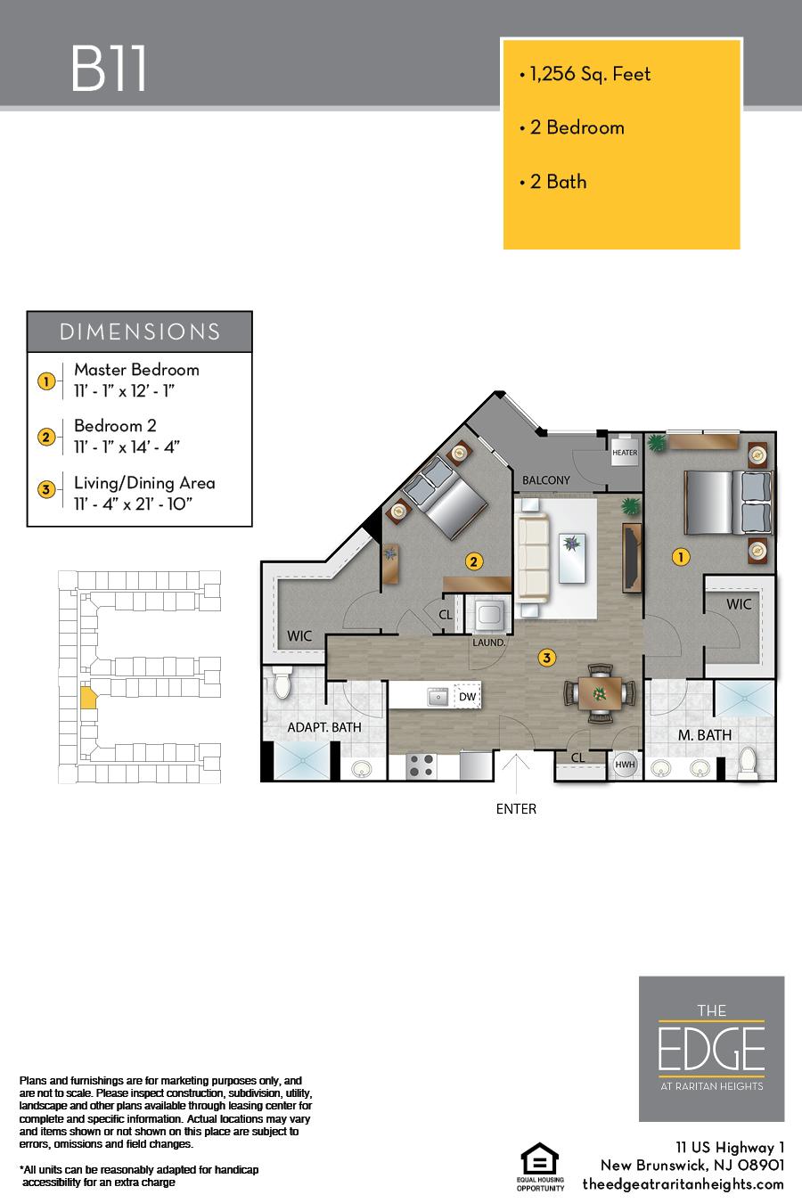The Edge At Raritan Heights Apartment Floor Plan B11