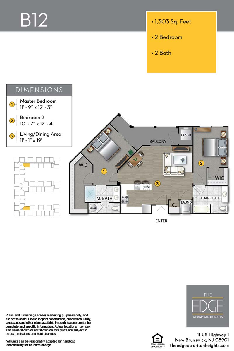 The Edge At Raritan Heights Apartment Floor Plan B12