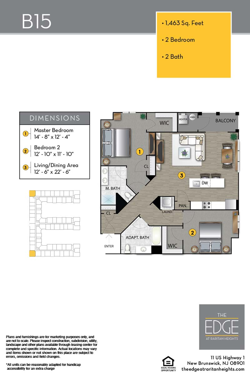The Edge At Raritan Heights Apartment Floor Plan B15
