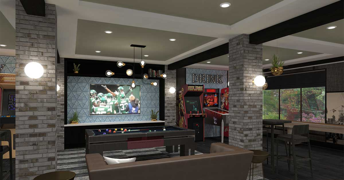 Great Room with TV, Billiards Table, and Arcade Machines