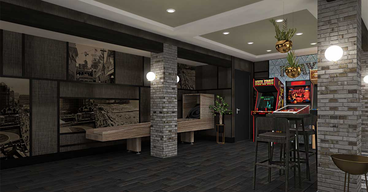 Great Room with skee ball table
