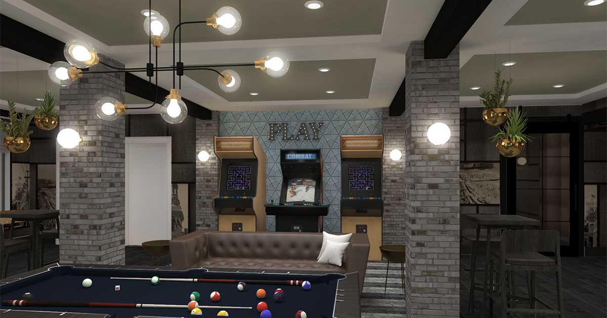 Great Room with couche, pinball and arcade machines
